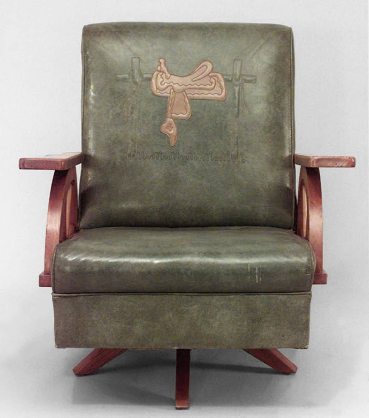 wagon wheel chair tablet arm chairs 1940 39s american western easy at 1stdibs