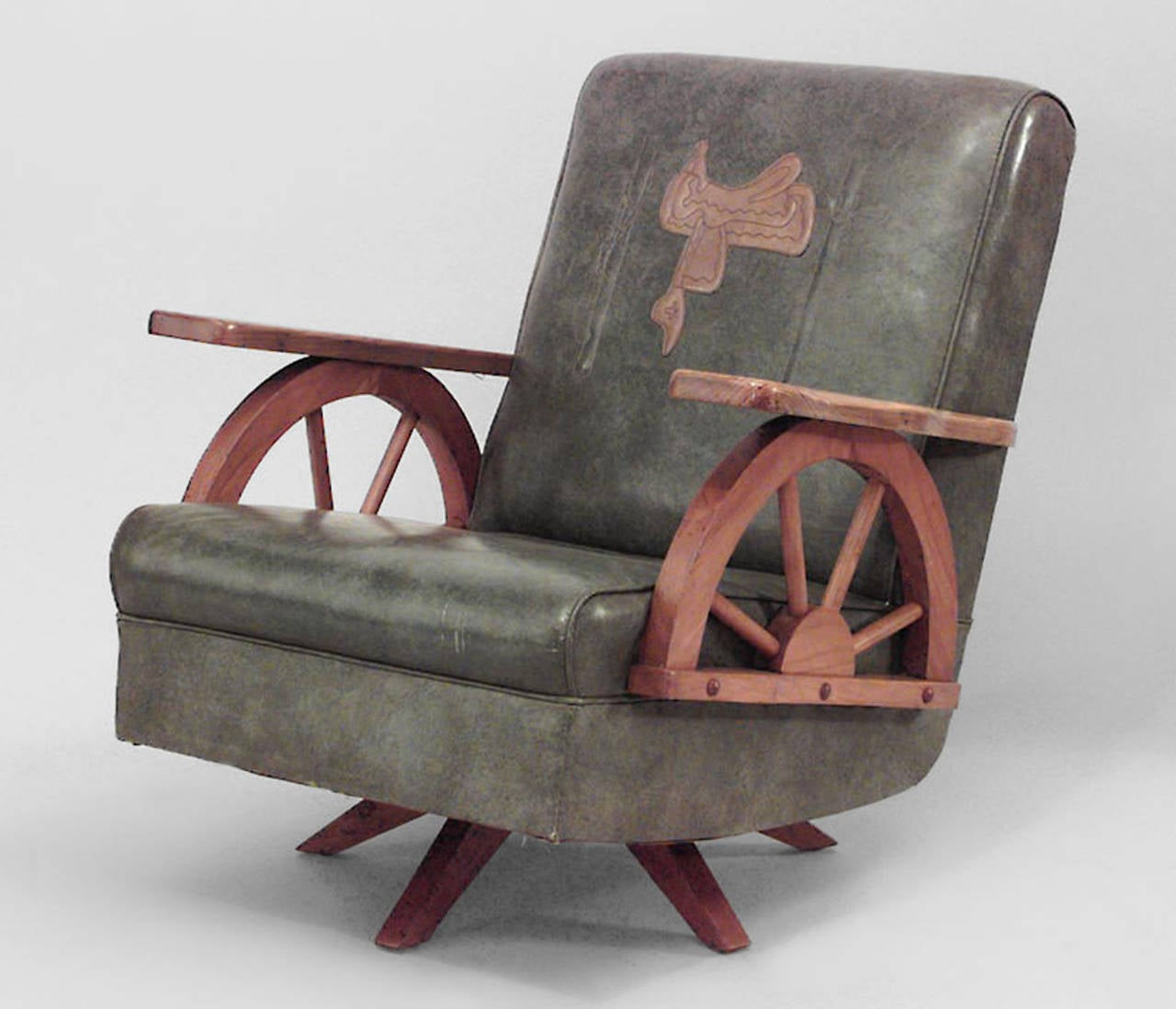 Western Chairs 1940 39s American Western Wagon Wheel Easy Chair At 1stdibs