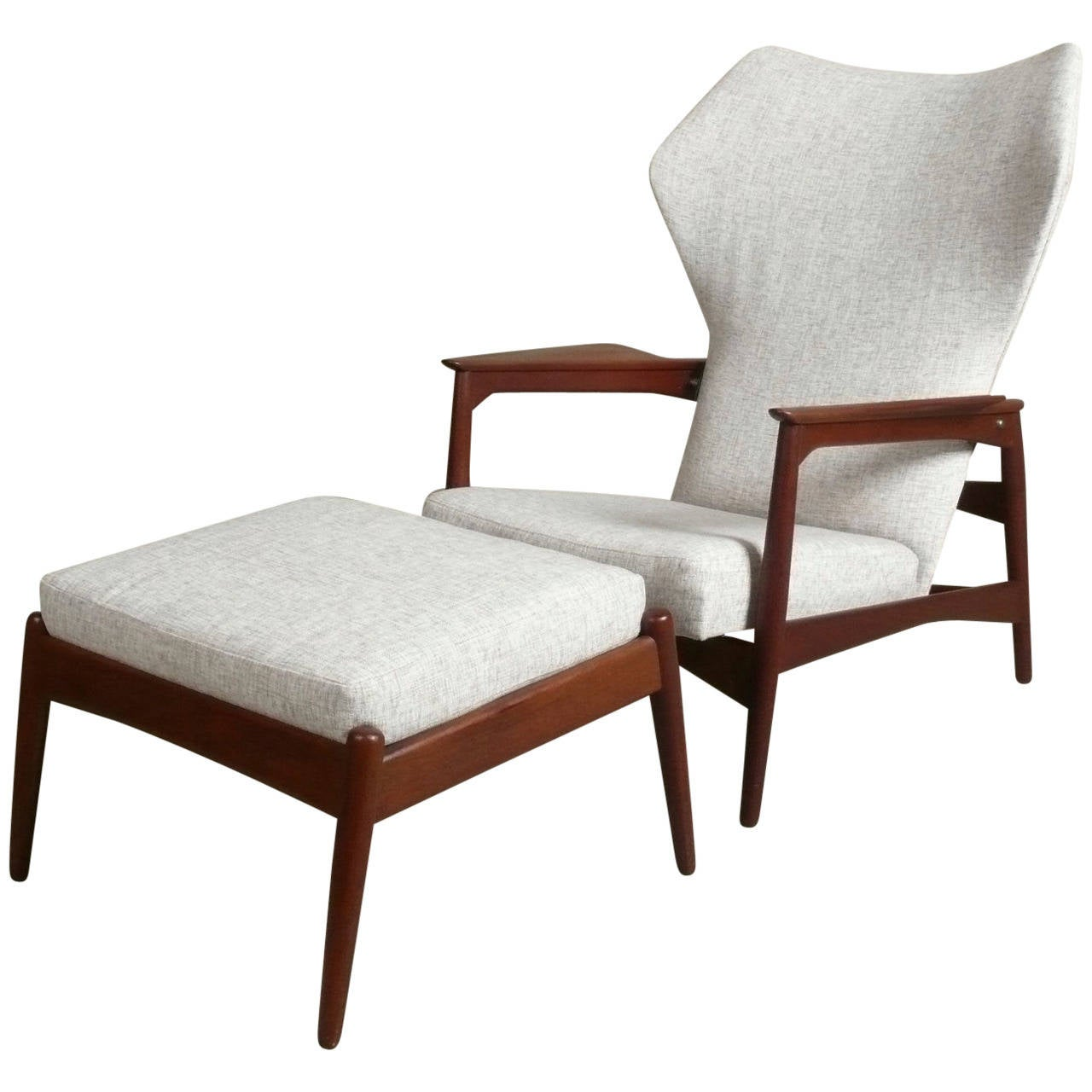 teak lounge chair hammock c 1960 reclining and ottoman from