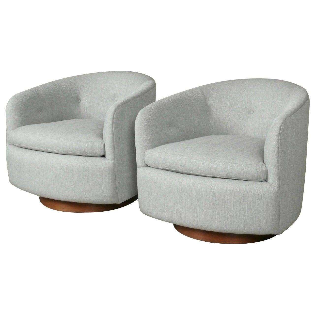 Pair of Swivel Rocking Tub Chairs by Milo Baughman circa