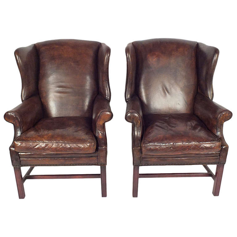 1950s Regency Style Pair of Leather Wing Back Chairs at