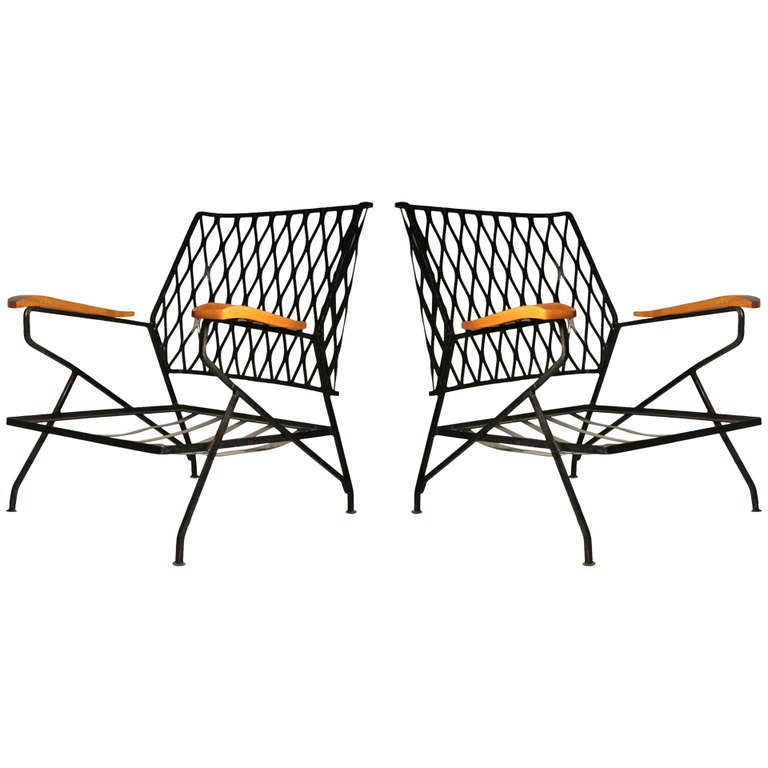 48 high back outdoor chair cushions plastic adirondack chairs pair of salterini armchairs / lounge by maurizio tempestini - patio at 1stdibs