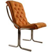 Tubular Chrome Tufted Vinyl Armless Chair For Sale at 1stdibs
