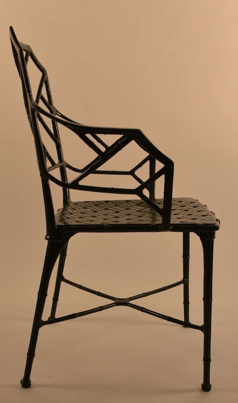 green metal bistro chairs wrought iron outdoor set of six brown jordan cast aluminum faux bamboo dining at 1stdibs
