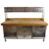 Industrial Stainless Steel and Wood Kitchen Work Station ...