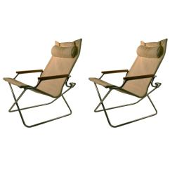 Folding Z Chair White Dining Chairs Set Of 4 Pair Uchida Canvas With One Ottoman At 1stdibs