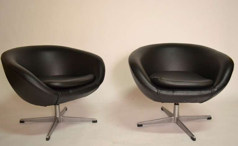 swivel pod chair light grey dining chairs pair classic overman in black vinyl at 1stdibs nice of swedish 1960 s both sets mounted