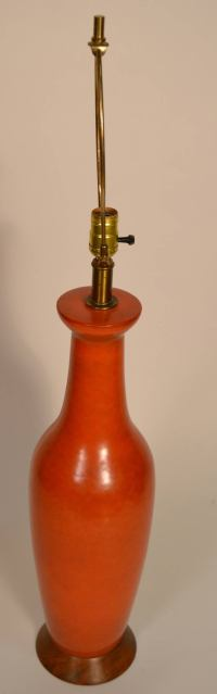 Mid-Century Orange Pottery Lamp For Sale at 1stdibs