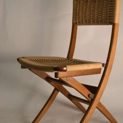 Folding Chair Embroidered Travel Big Bubba Pair Side Chairs With Jute Weave Seats And Backs At 1stdibs