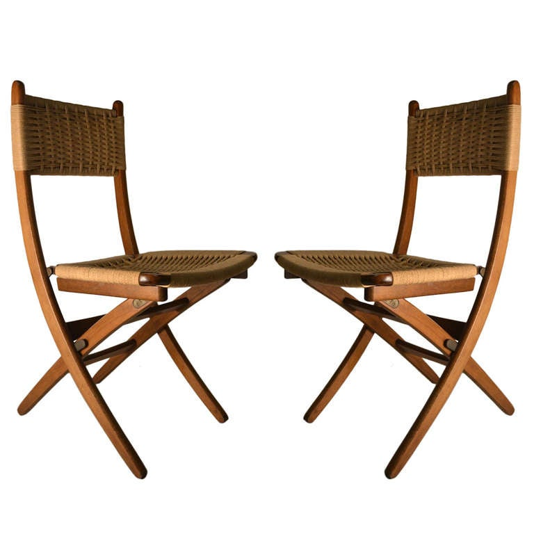 wicker ladder back chairs plastic swivel chair glides pair folding side with jute weave seats and backs at 1stdibs