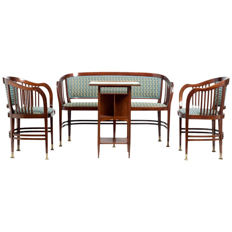 Joseph Maria Olbrich Seating Group bench 3 armchairs