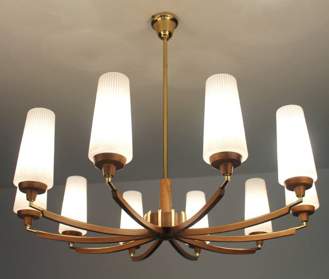 Italian Wood Brass Chandelier Glass Ceiling Fixture Mid Century Modernist