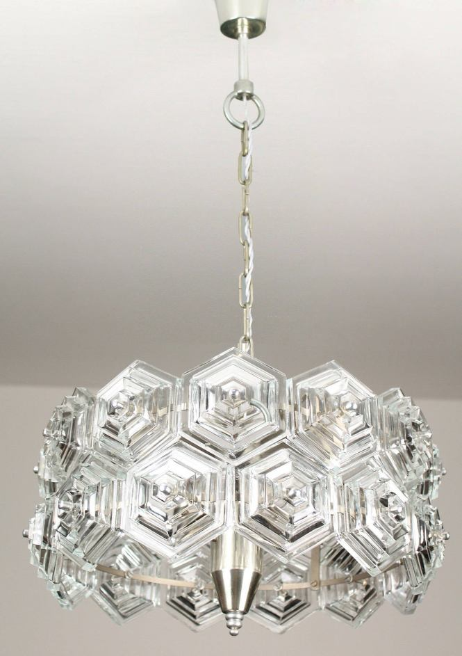 Mid Century Modern Glass Prisms Chandelier Chrome Ceiling Fixture Kinkeldey Era 60s