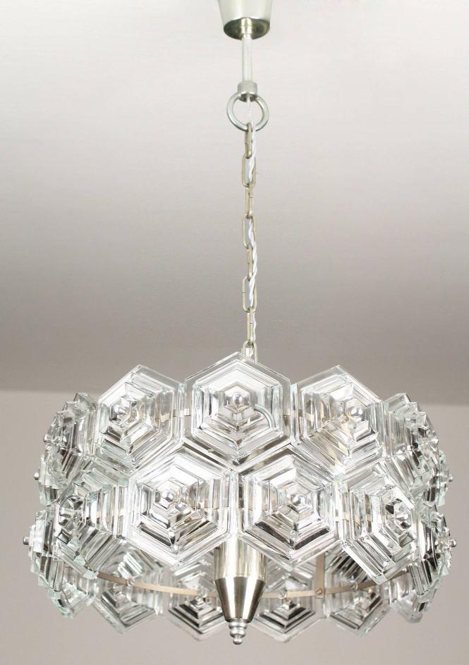 Mid Century Glass Prisms Chandelier Chrome Ceiling Fixture Kinkeldey Era 60s 3