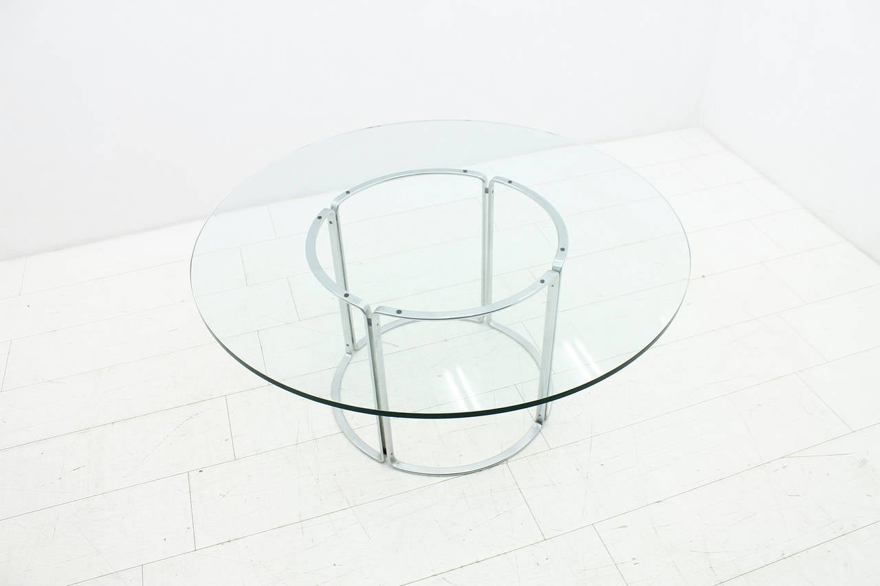Large Dining Table Horst Bruning Glass And Steel By Kill