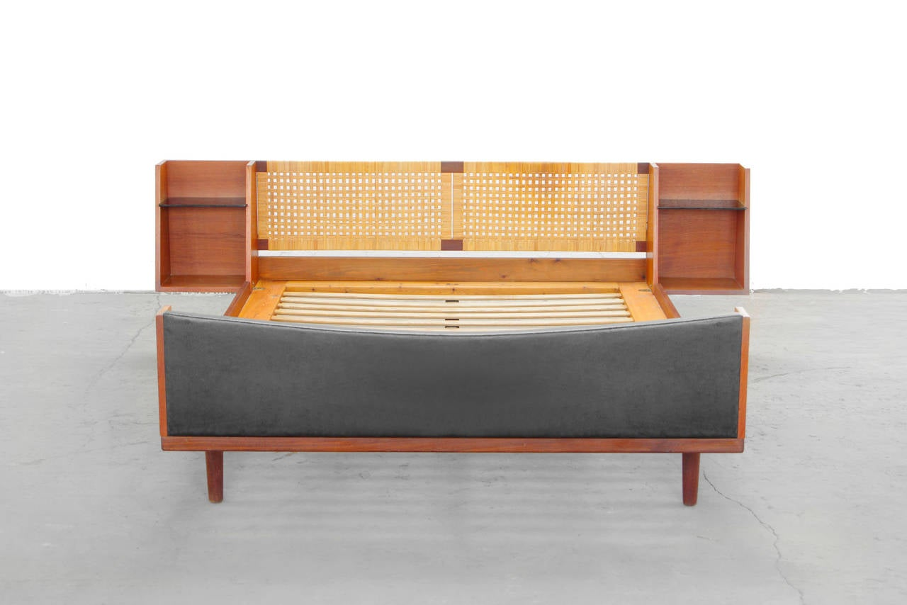 sofa bed black faux leather blue sectional teak king-size with cane headboard by hans wegner ...