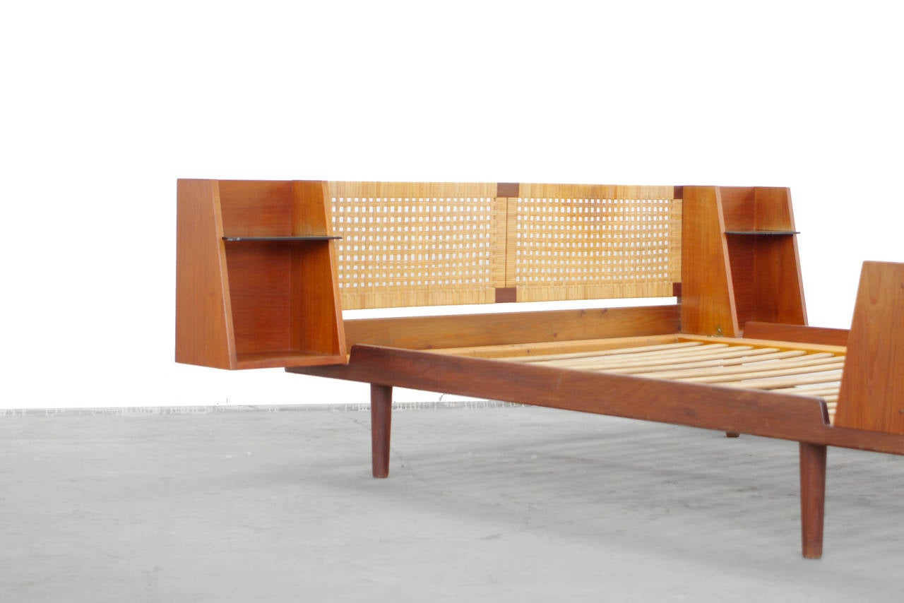Teak King Size Bed With Cane Headboard By Hans Wegner