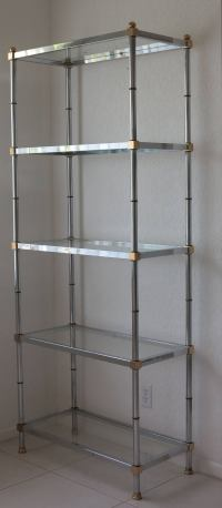 Chrome and Brass Etagere Glass Shelves at 1stdibs