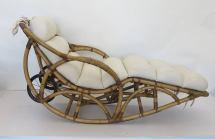 Vintage Rattan Chaise Lounge Rocking Chair Circa 1930s