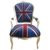 French Louis XV Style Armchair in Union Jack Flag at 1stdibs