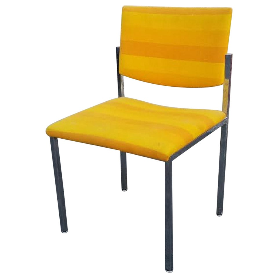 Side Chair MidCentury Modern Style Striped Yellow Side