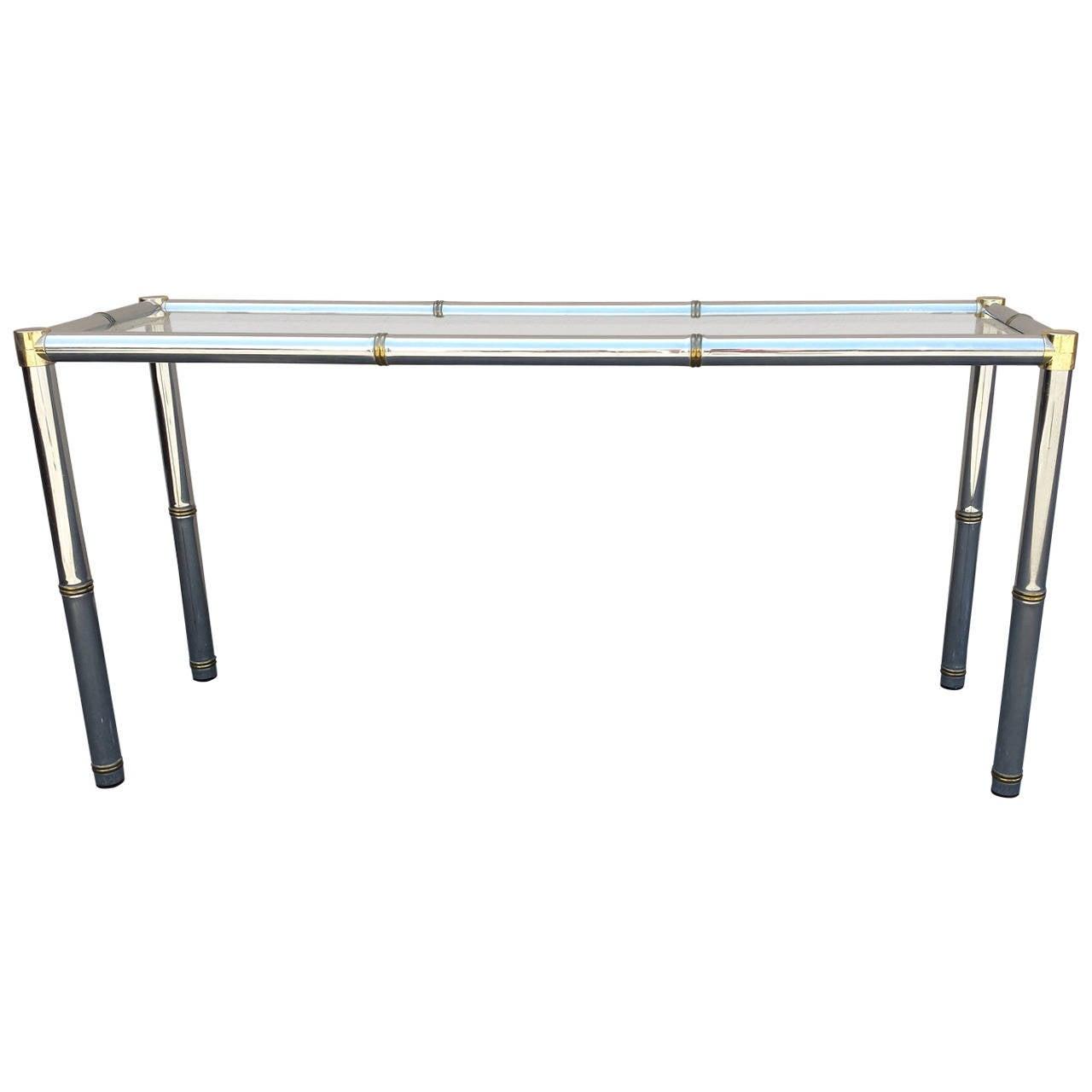 vogue chrome sofa table isi dacron console mid century or