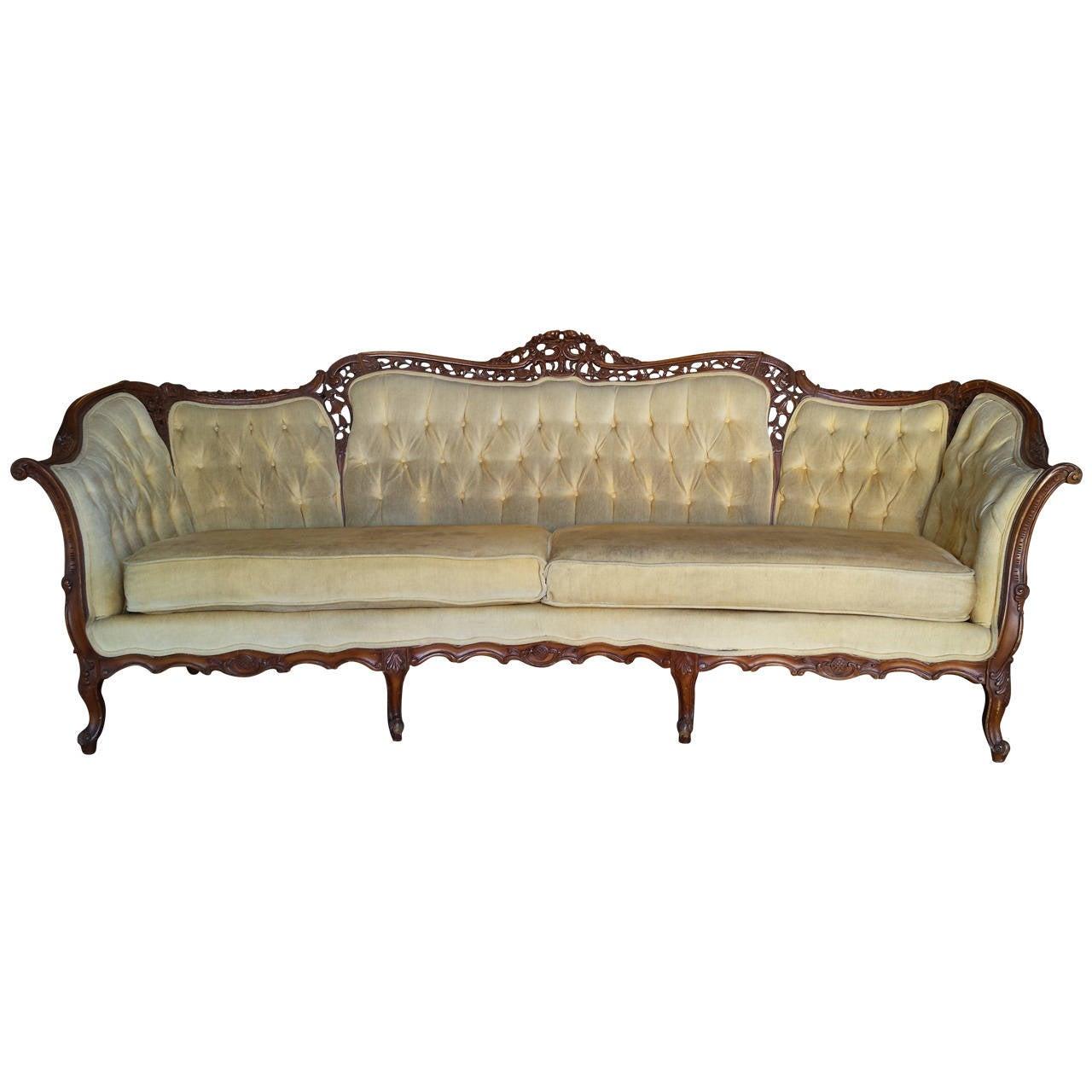 French Sofa French Louis XV Style FullSize Tufted Sofa