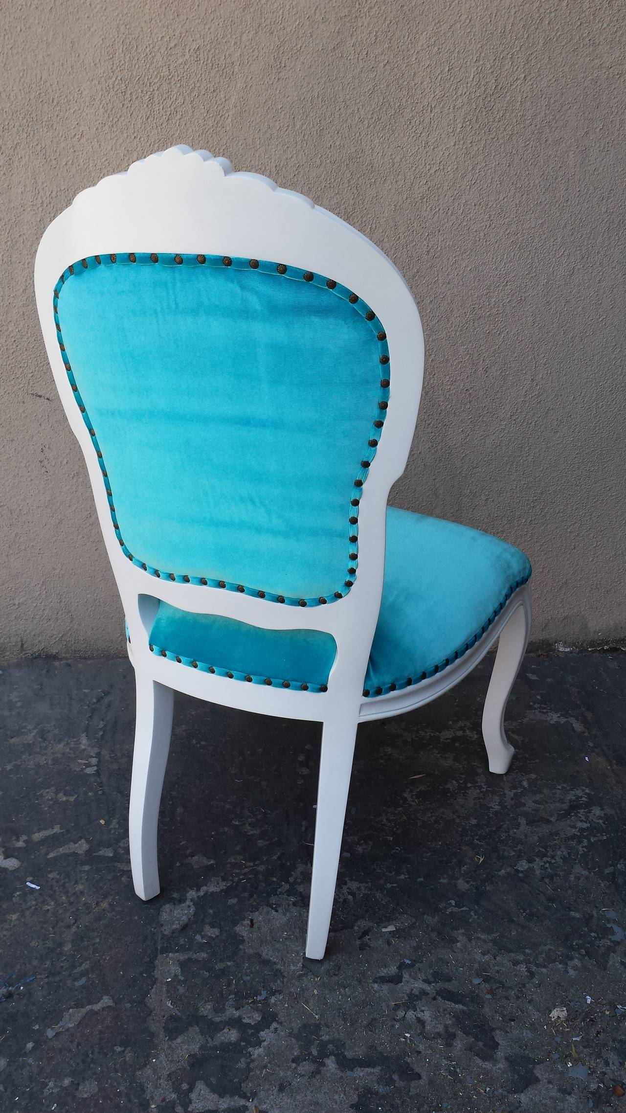 Turquoise Side Chair Set Of Six French Louis Xv Style Side Chairs In Turquoise