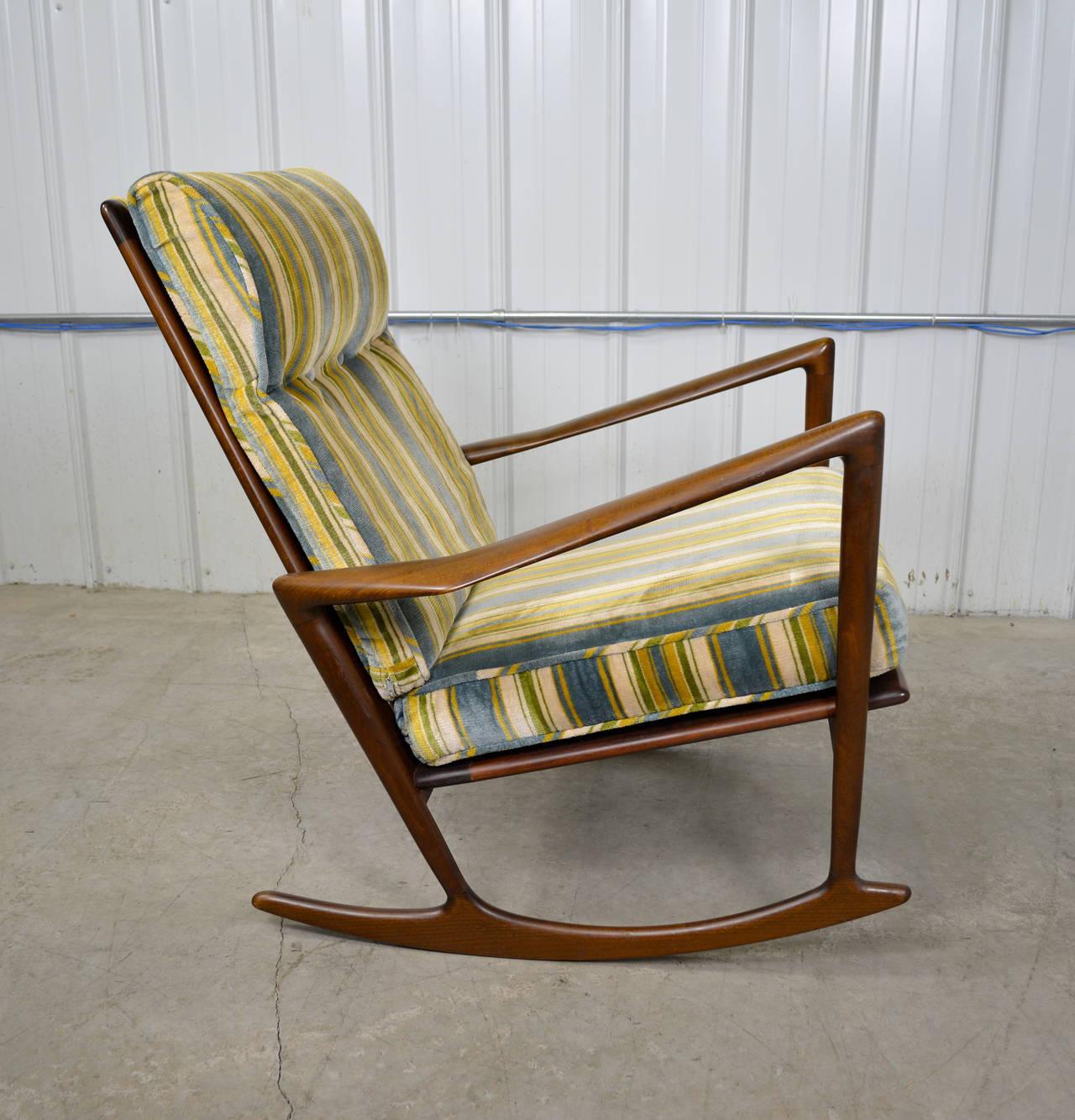 danish modern rocking chair quiet swivel ib kofod larsen at 1stdibs