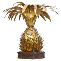 Huge Maison Jansen Brass Pineapple Table Lamp in Palm Tree ...