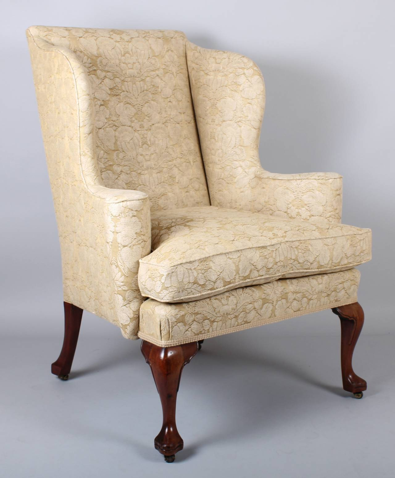 Queen Anne Wingback Chair Wingback Chair On Walnut Cabriole Legs In The Classic