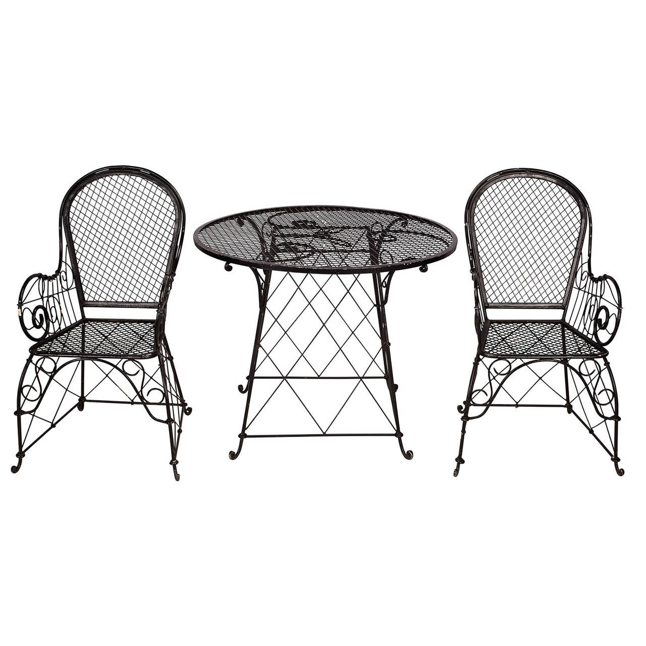 Black Wire Garden Furniture Set At 1stdibs