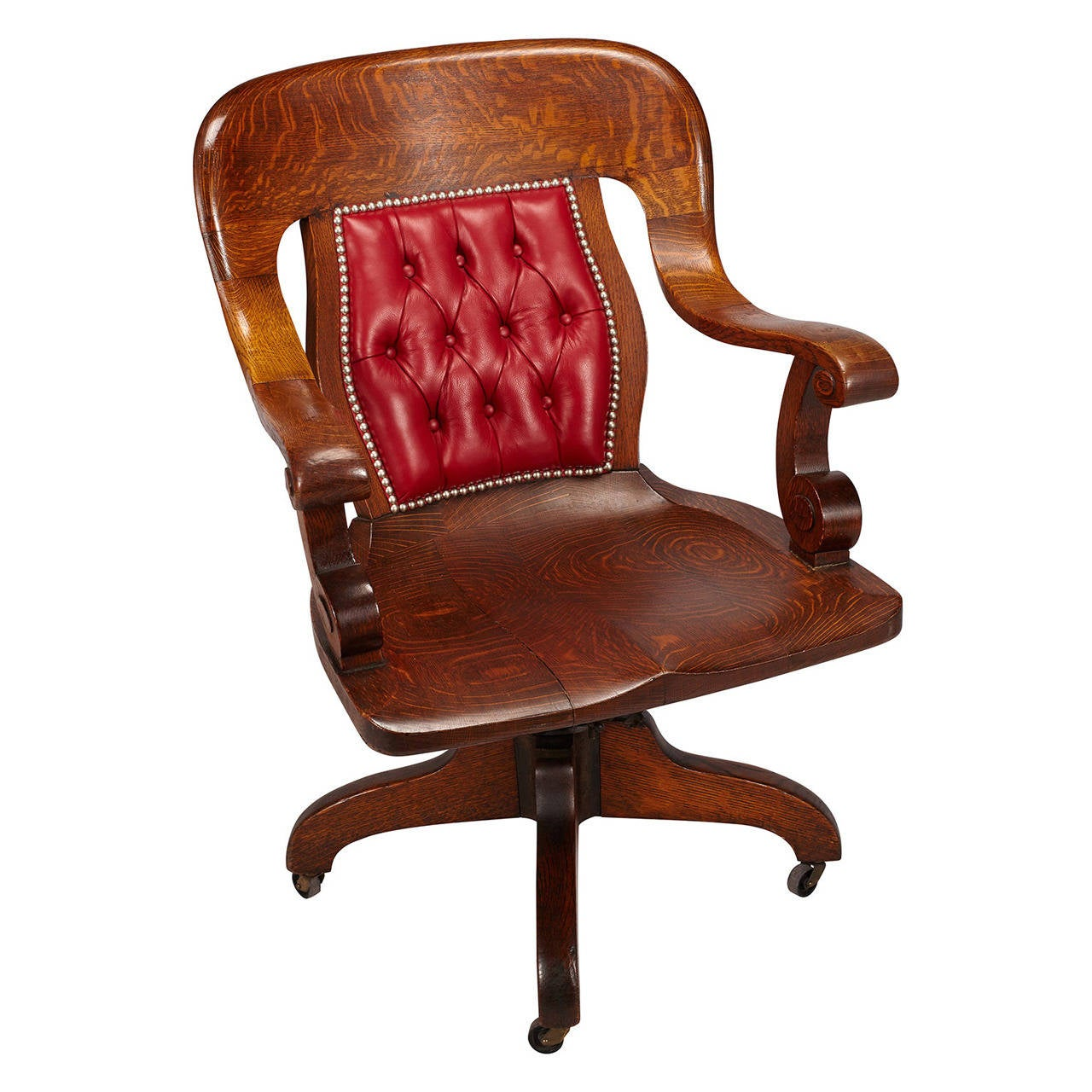 Wood Bankers Chair Oak Swivel Banker 39s Chair At 1stdibs