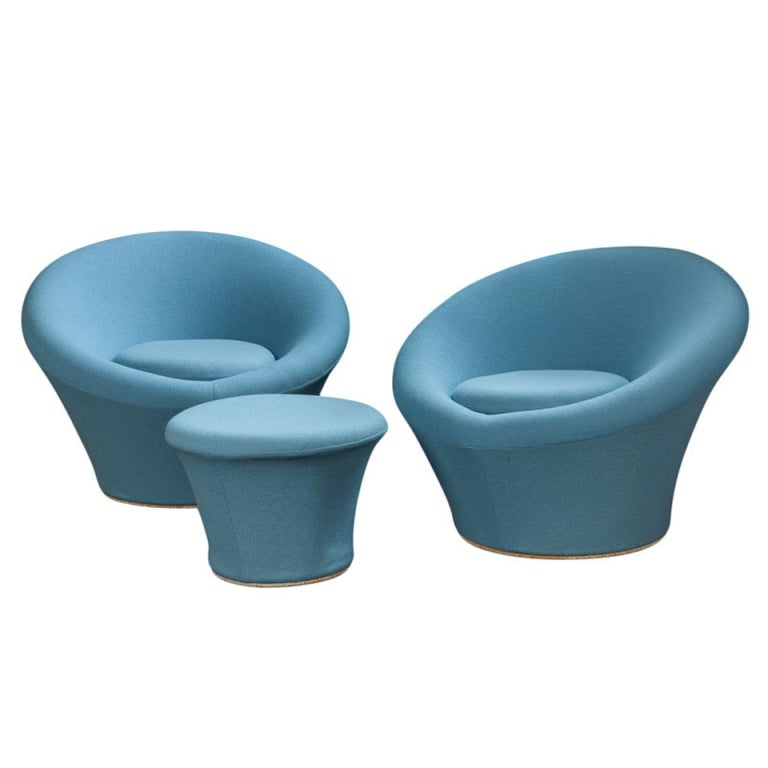 modern slipper chair kids lawn chairs pair of mushroom and ottoman by pierre paulin. at 1stdibs