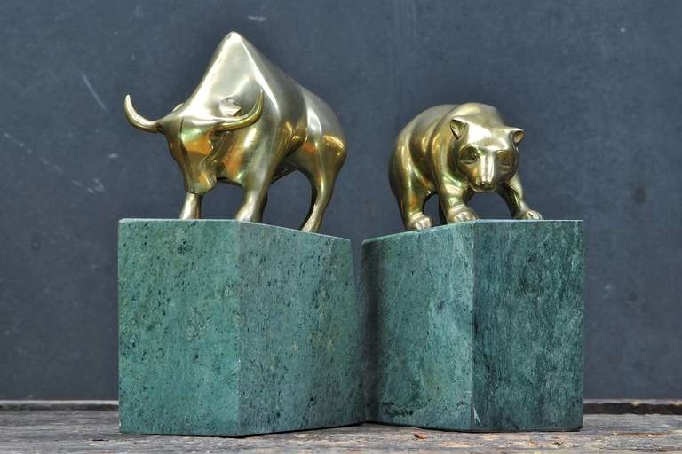 1970s Bull And Bear Stock Broker Brass Marble Bookend Sculptures At 1stdibs