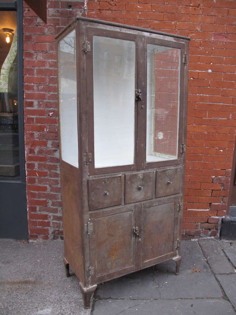 Industrial Steel Vitrine on Cabinet at 1stdibs