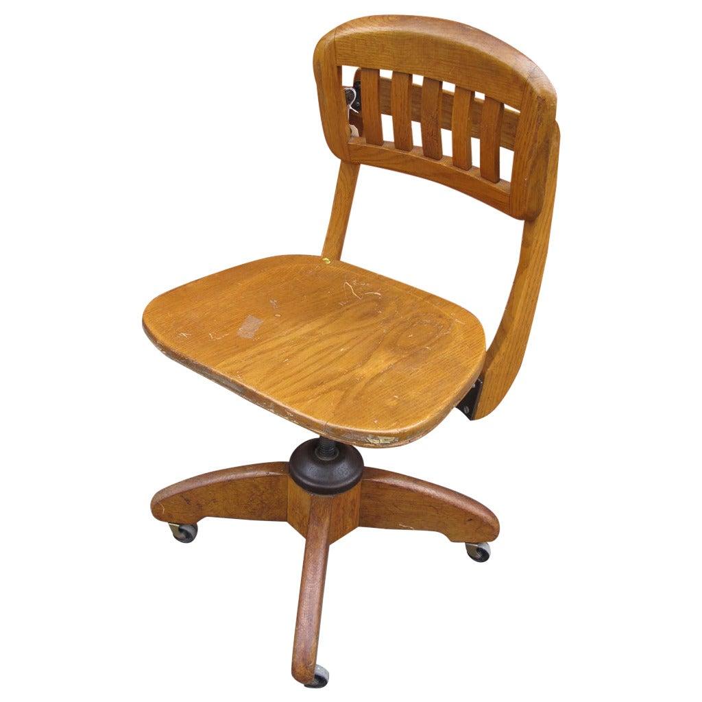 swivel chair office warehouse best fabric for seats adjustable oak desk at 1stdibs
