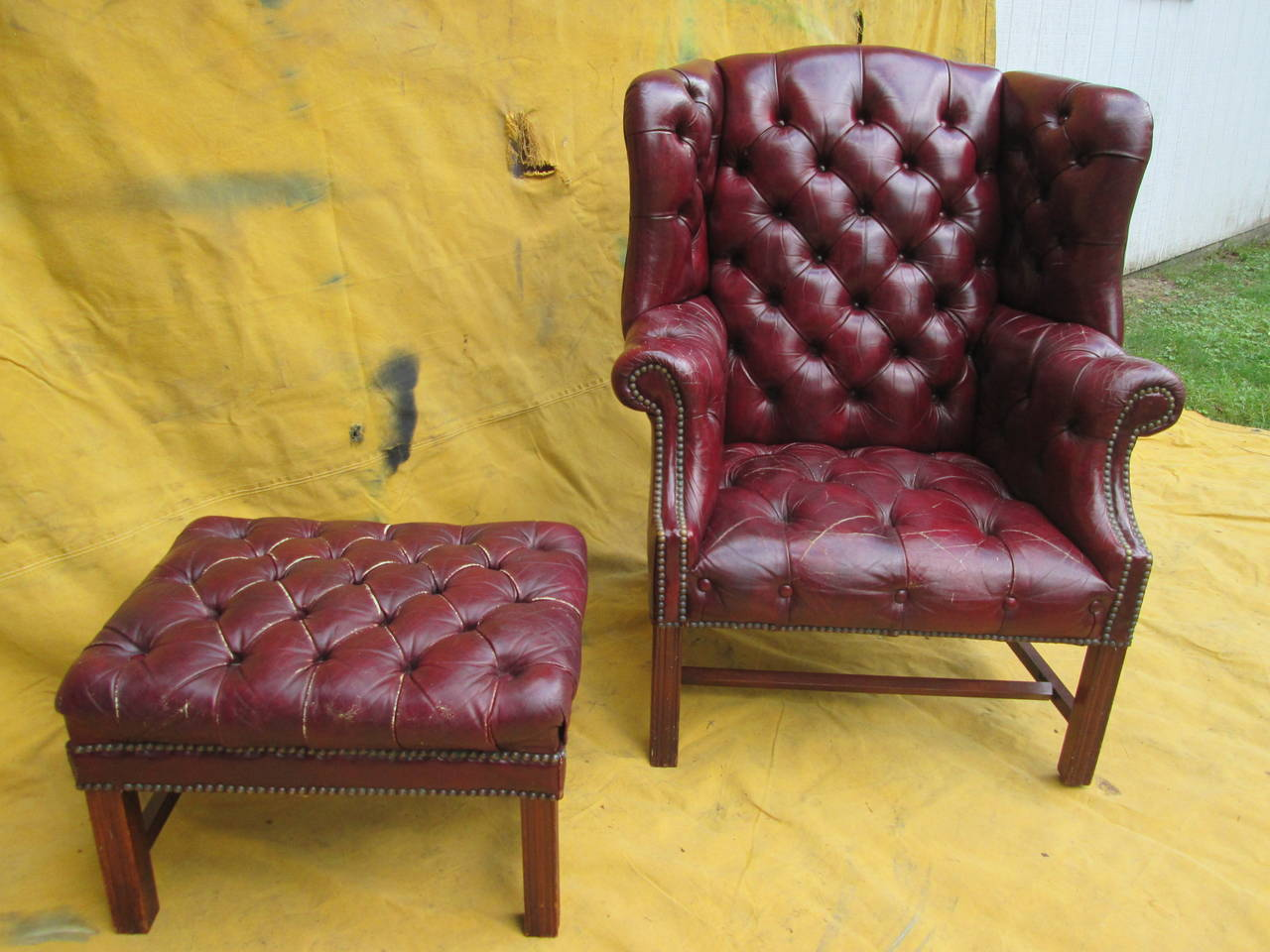tufted chair and ottoman rocker cushions sets wingback at 1stdibs