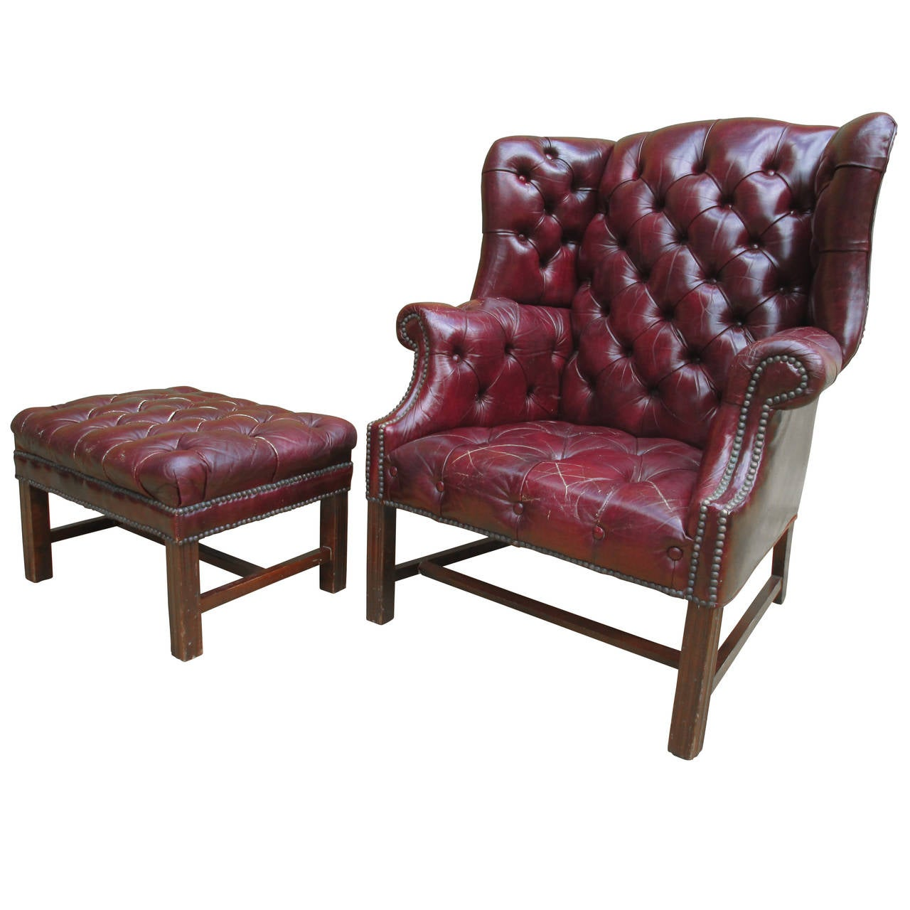 tufted chair and ottoman bedroom commode wingback at 1stdibs