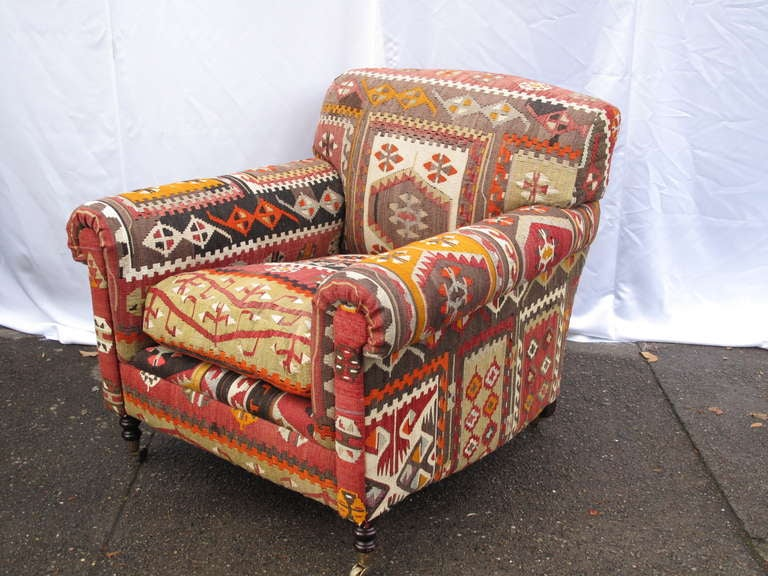 black leather club chair and ottoman blue bay kenny chesney george smith kilim upholstered armchair at 1stdibs