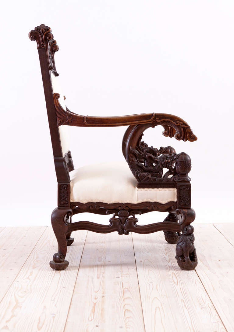 Chinese Dragon Chair In Elaborately Carved Rosewood At 1stdibs