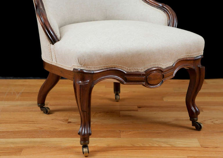 bergere chair for sale little tikes wooden desk and english victorian upholstered slipper in mahogany, circa 1860 at 1stdibs