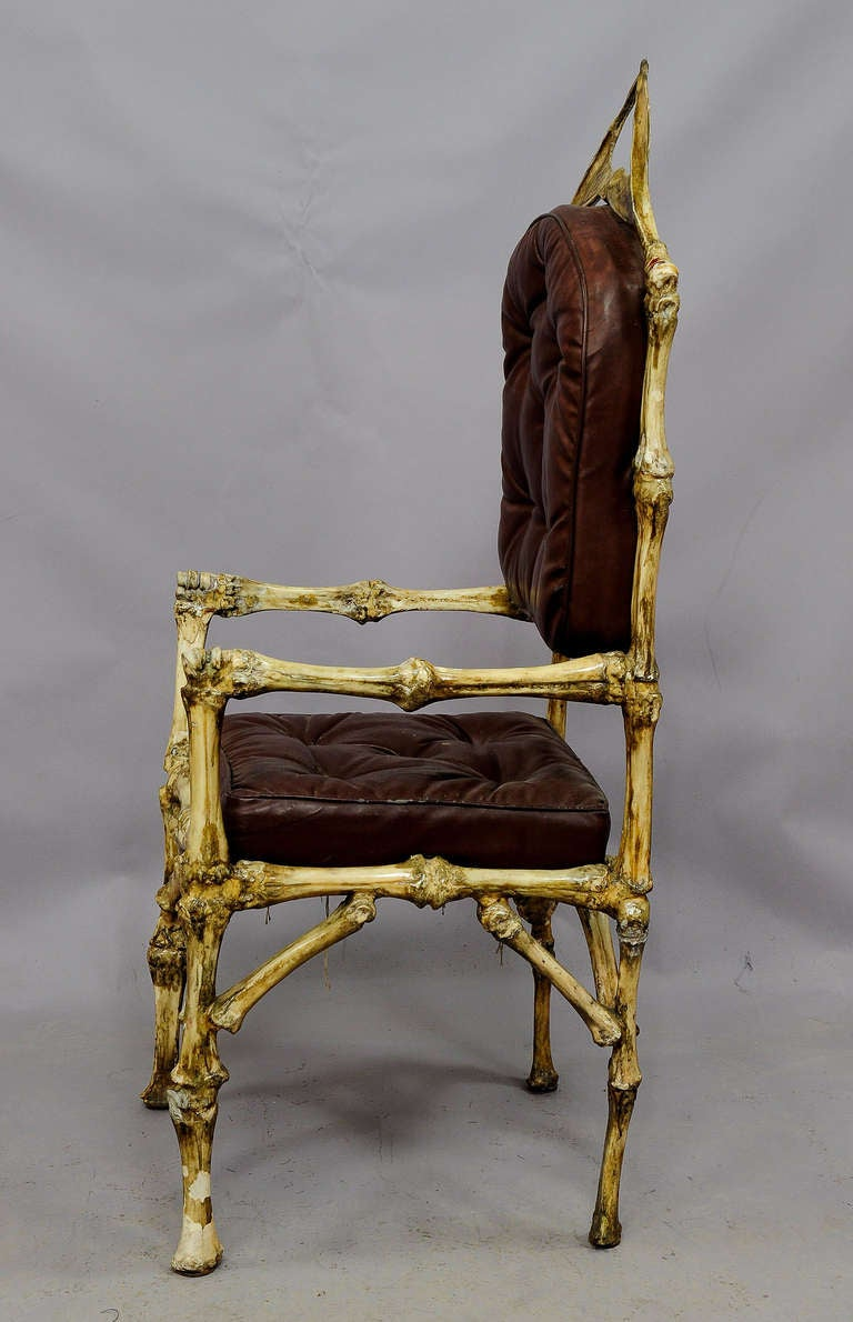 iron throne chair grey leather recliner uk great vintage cow bone throne, circa 1930 for sale at 1stdibs