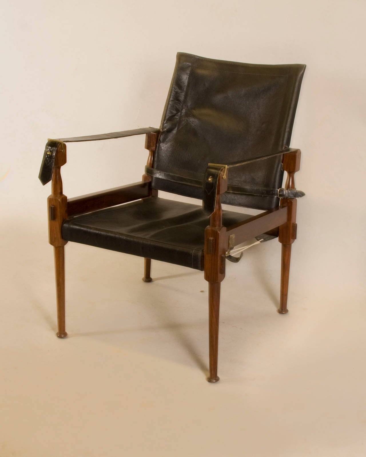 leather safari chair stool autocad rosewood in the style of carl auböck for sale