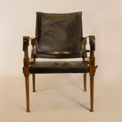 Leather Safari Chair With Ball Rosewood In The Style Of Carl Auböck For Sale