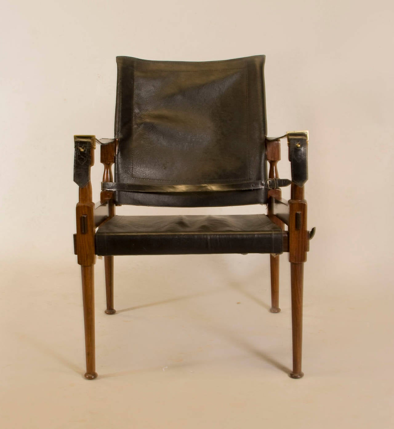 leather safari chair chairs dining rosewood in the style of carl auböck for sale