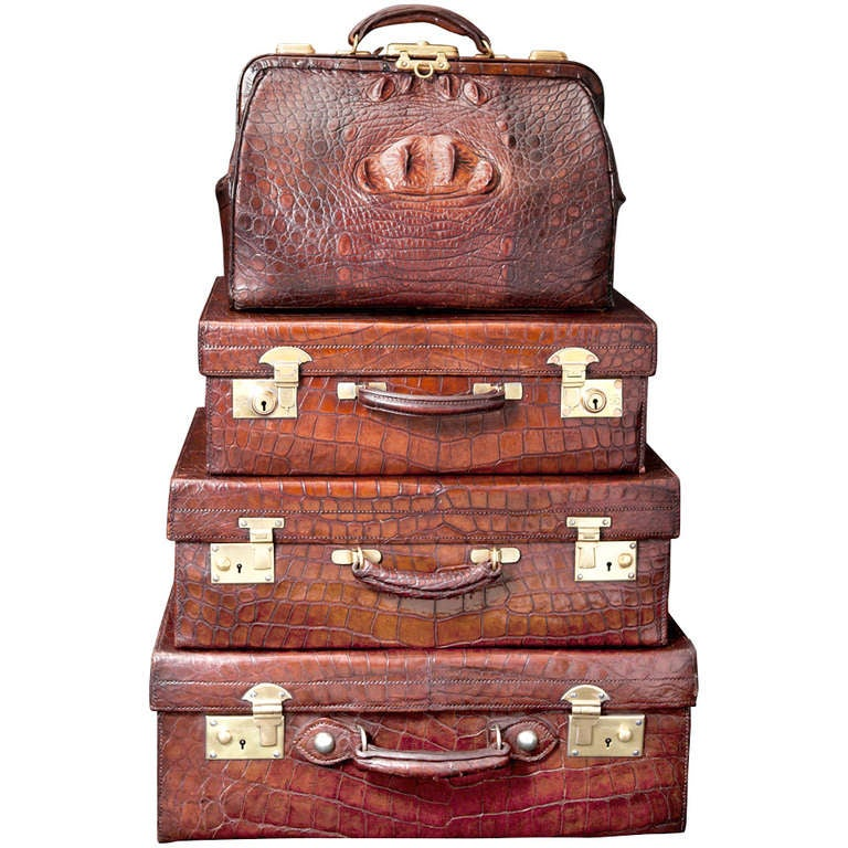Vintage English Crocodile Luggage Collection at 1stdibs