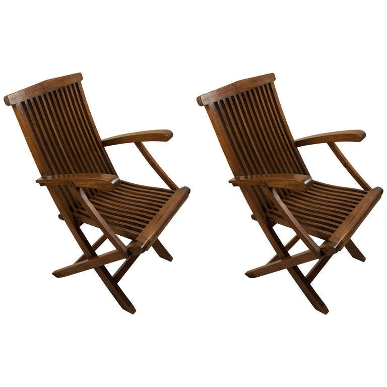 deck chair images wheelchair illustration four teak folding chairs from mid century cruise ship at 1stdibs for sale