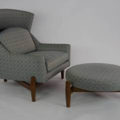Stool Chair Big W Frank Lloyd Wright Rare Jens Risom Quotbig Quot With Ottoman At 1stdibs