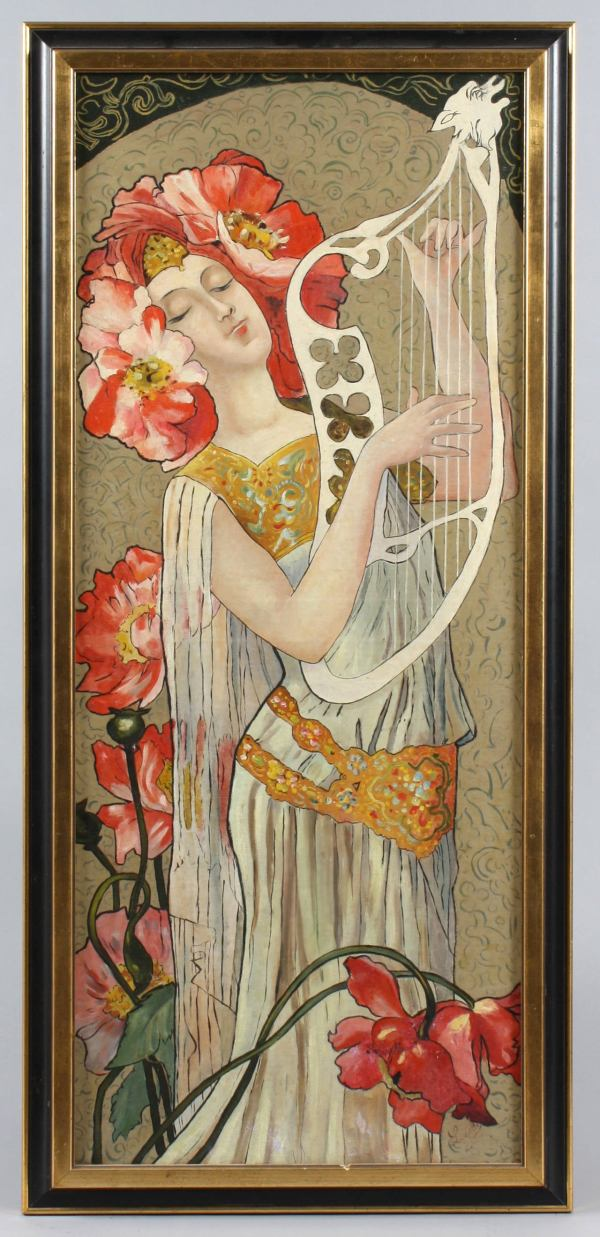 Unknown - Art Nouveau Portrait Of Woman With Poppies In Hair Painting 1stdibs
